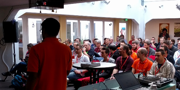 Sujeevan Vijayakumaran addressing the UbuCon Europe attendees